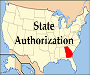 Map of United States with words State Authorization